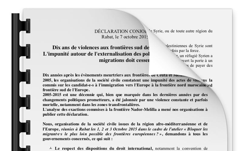 Déclaration conjointe, Rabat, le 7 octobre 2015