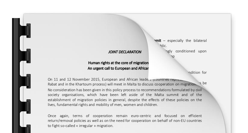 Déclaration conjointe, Malte, le 11 et 12 novembre 2015