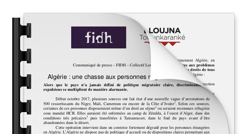 Algérie : une chasse aux personnes migrantes détestable
